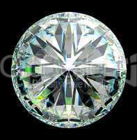 Top view of round diamond with green sparkles