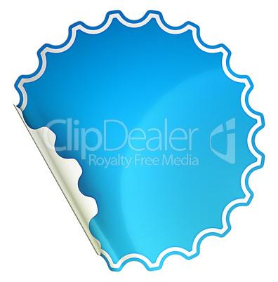 Blue bent round sticker or label