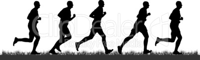 Silhouette of runners