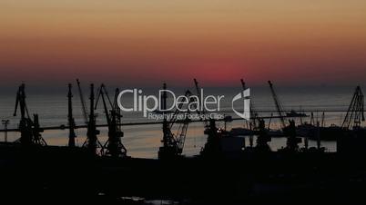 sunrise in the harbor of Odessa, Ukraine