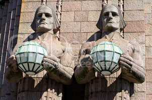 Statues at the Railway Station. Helsinki, Finland