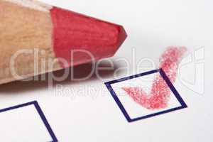 red pencil - checked