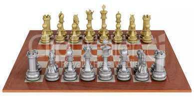 Metallenes Schachspiel auf Holzbrett - Metal chess set on wooden board