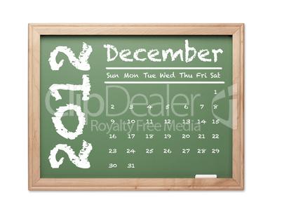 December 2012 Calendar on Green Chalkboard