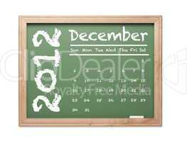 December 2012 Calendar on Green Chalkboard