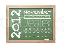 November 2012 Calendar on Green Chalkboard