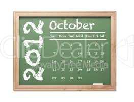 October 2012 Calendar on Green Chalkboard