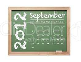 September 2012 Calendar on Green Chalkboard