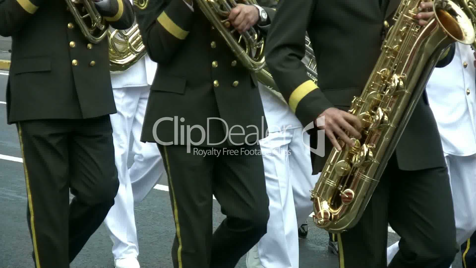 The Brass Band Walking The Road Full HD 1080p: Royalty-free video