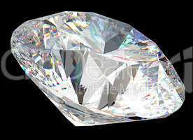 Round diamond: top side view isolated