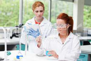 Young science students doing an experiment