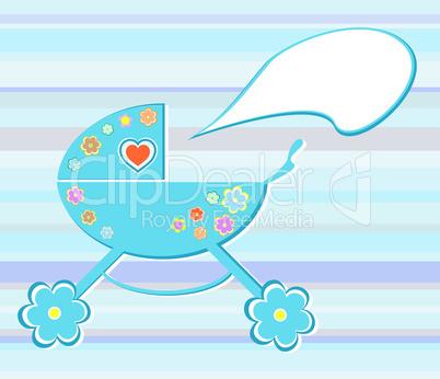 Vector perambulator card for baby-shower card design