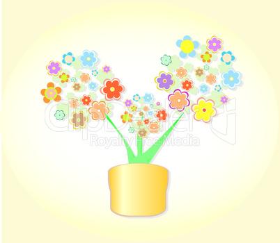 Abstract Flower In Pot, Flowerpot Background vector