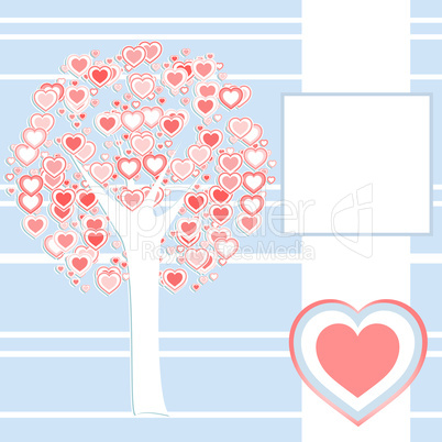 stylized love tree made of many red hearts background