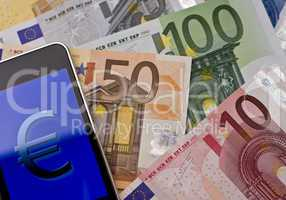 handheld with euro sign -two-