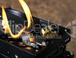 flames on open hard drive