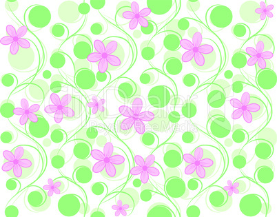 Pink vector seamless flower background