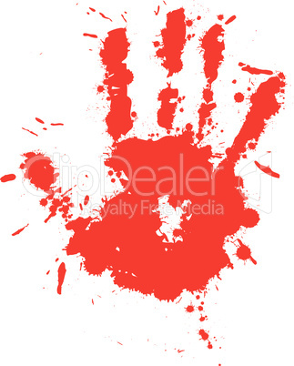 Red drop ink splatter hand prin