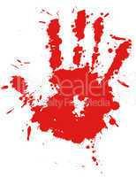 Red drop ink splatter hand print, blood splash vector.