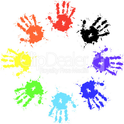 Print of hand from ink colorful splash