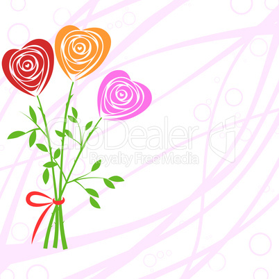 Heart, rose invitation, flower background.