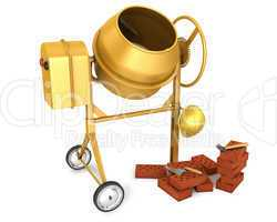 Clean new yellow concrete mixer with helmet, trowel and few bric