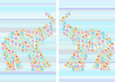 floral Elephant on Abstract blue background