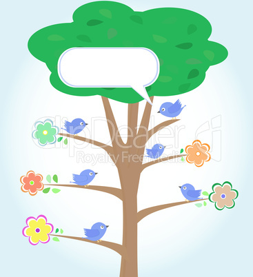 Greeting card with birds under tree. vector
