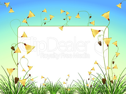 white sign with flowers and grass