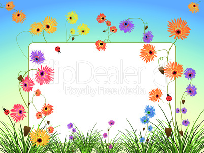 empty billboard with flowers and grass