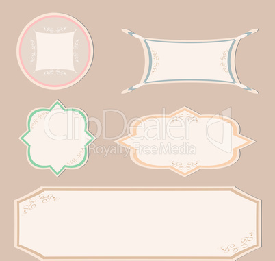 Set of vintage label and ornament frames for invitation card
