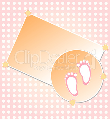 Baby girl arrival announcement card background vector