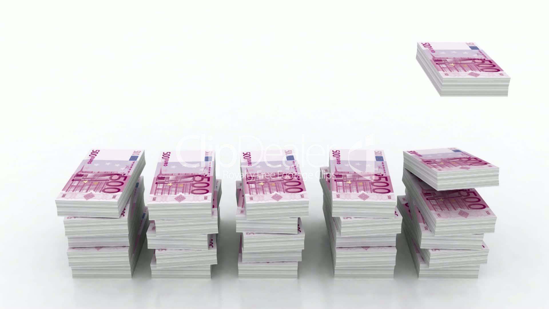 Falling stacks of 500 Euro currency: Royalty-free video