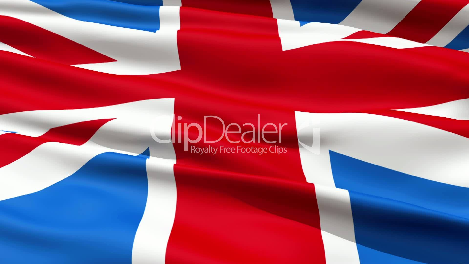 realistic 3d seamless looping great britain english flag waving