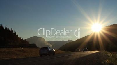 Car traffic and sun