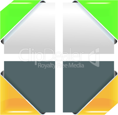 vector colored corner ribbon set.