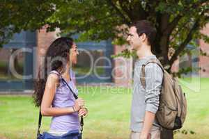 Charming students flirting