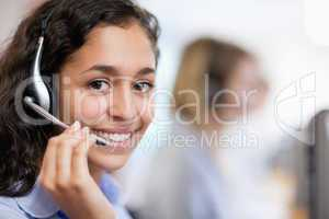 Close up of a smiling customer assistant