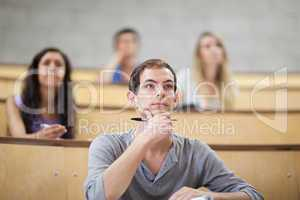 Serious students listening during a lecture