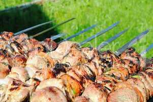 Kebabs, threaded on a skewer