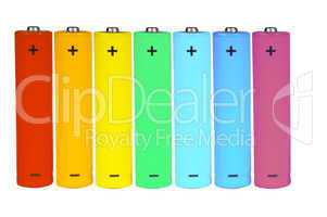 Seven batteries of different colors