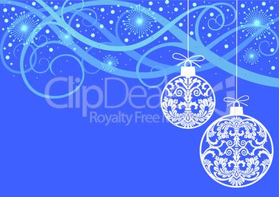 Christmas ornaments balls on blue