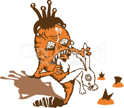 Carrot takes revenge on a white rabbit