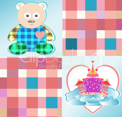 magical fairytale pink castle and cute bear vector
