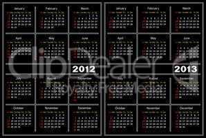 Black calendar template.