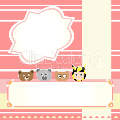 animals and child beautiful greeting card background