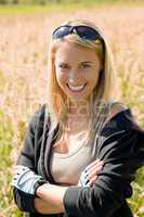 Sportive young woman portrait sunny outdoor