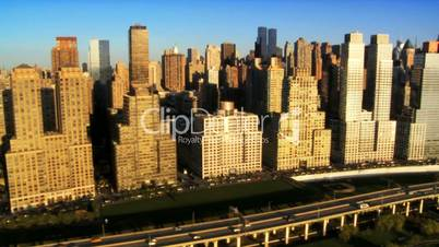 Aerial view of Midtown Manhattan and Freeway, New York City, USA