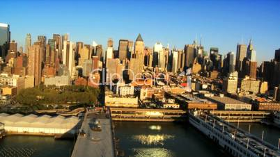 Aerial view of Midtown Manhattan and Piers, New York City, USA