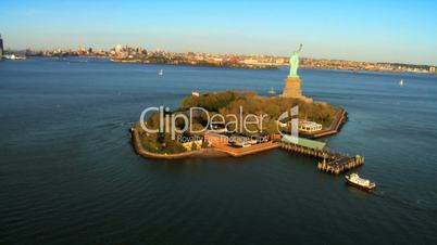Aerial view of the Statue of Liberty, Ellis Island and Downtown Manhattan, NY, USA